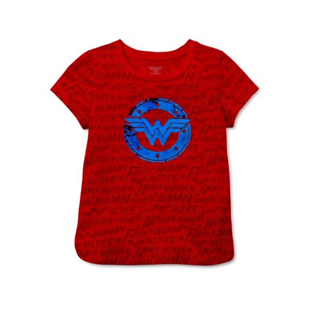 Wonder Woman Girls All Over Logo Graphic T-Shirt, Sizes 4-16