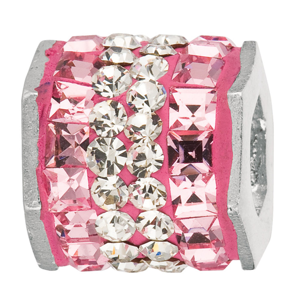 Sterling Silver Pink & White Hexagon Crystal Bead, For Chamilia, Biagi