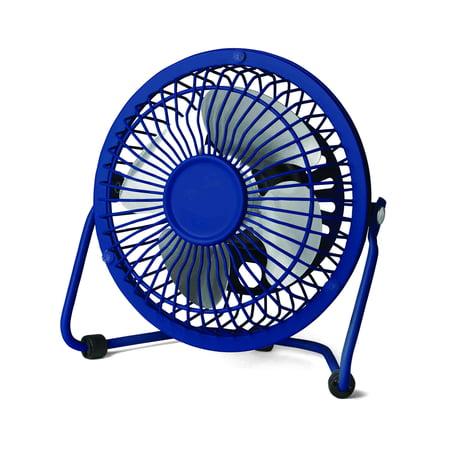 Mainstays 4 inch Metal Desktop Fan, Blue