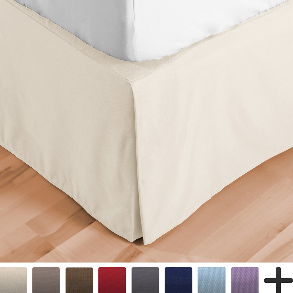 Bedskirt Double Brushed Premium Microfiber, 15-Inch Tailored Drop Pleated Dust Ruffle,... by Bare Home