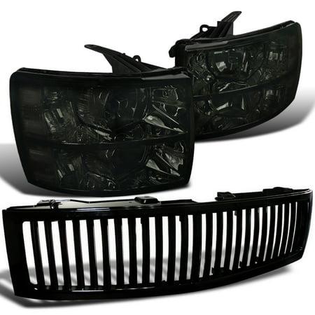 - Spec-D Tuning 2007-2012 Chevy Silverado 1500 Black Vertical Grill + Smoked Lens Headlights 2007 2008 2009 2010 2011 2012