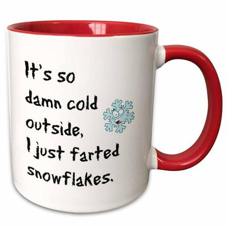 3dRose its so damn cold outside I just farted a snowflake - Two Tone Red Mug, 11-ounce (Snowflake Mug)