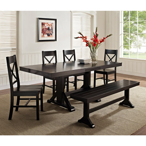 6-Piece Solid Wood Dining Set, Black