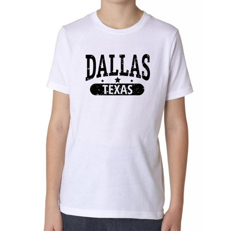 Trendy Dallas, Texas with Stars Boy's Cotton Youth T-Shirt
