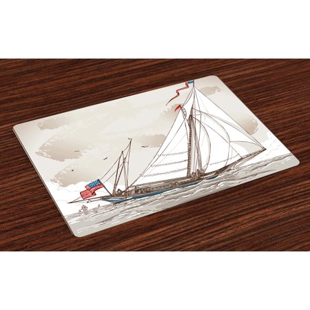 Vintage Placemats Set of 4 Illustration of a Retro View of Antique American Yacht with Flags Ocean, Washable Fabric Place Mats for Dining Room Kitchen Table Decor,Pale Grey Tan White, by Ambesonne ()