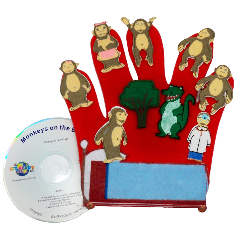 FINGER PLAY FUN GLOVE PUPPETS MONKEYS ON THE BED