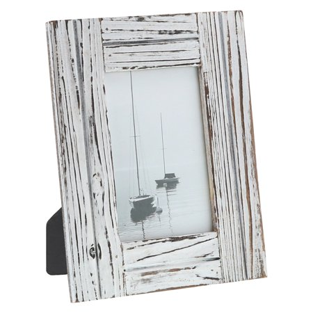 """Distressed White Carved Wood - Barnyard Designs Rustic Farmhouse Distressed Picture Frame - White Wood Photo Frame 4"""" x 6"""""""
