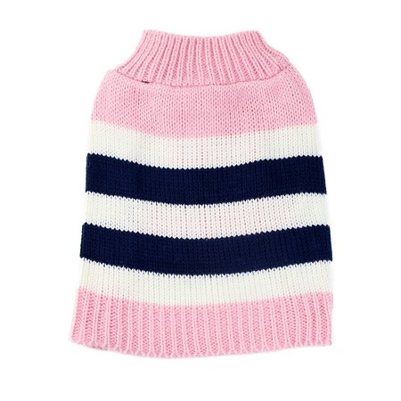 Medium Pink Striped Colorblock Dog Sweater by Midlee fits 14