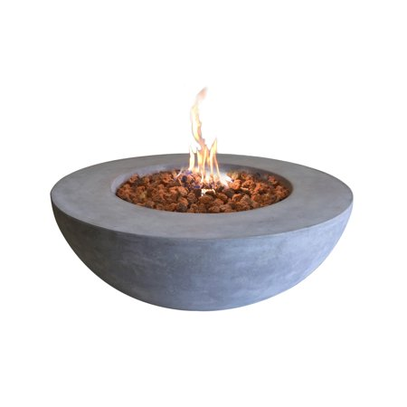 Elementi Outdoor Lunar Fire Bowl 42 Inches Grey Durable Fire Pit Table Glass Reinforced Concrete Round Fire Table Natural Gas Patio Fire Place Electronic Ignition Lava Rock (Round Concrete)