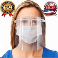 5 Pack Face Shield, Reusable, Transparent, Clear, Anti-Splash, Anti-Fog Full Face Safety Cover with Glasses for Men and Women Ships From USA