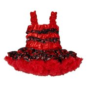 Baby Girls Red Black Dotted Ruffle Strap Bodice Flouncy Cupcake Dress S(0-24M)