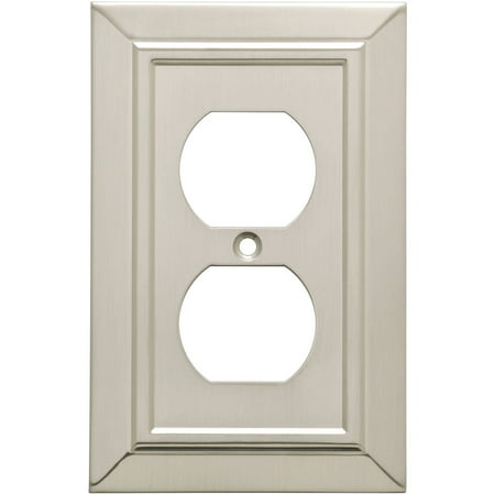 Franklin Brass Classic Architecture Single Duplex Wall Plate in Satin Nickel
