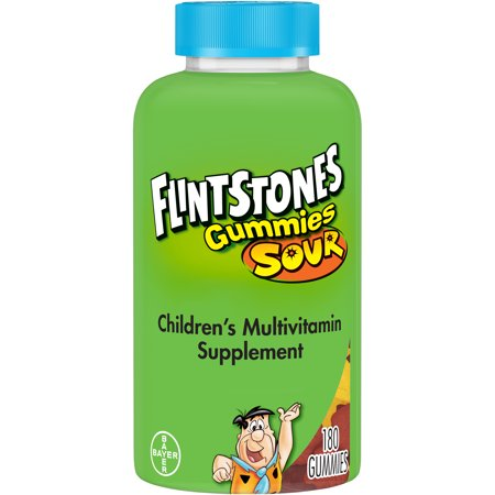 Flintstones Sour Gummies Childrenâs Multivitamins, Kids Vitamin Supplement with Vitamins C, D, E, B6, and B12, 180