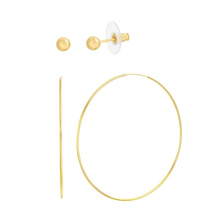 Bliss Women's Polished Ball Stud and 70MM Hoop 2 Pair Earring Set in Yellow Gold Plated Sterling Silver