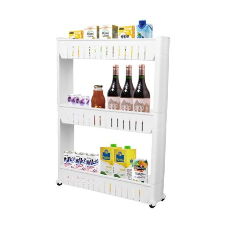 Dazone Storage Cabinet 3 Tier with 4 Wheels Slide out Storage Cabinet Rack Tower for Limited Space in Kitchen Bathroom Laundry Room
