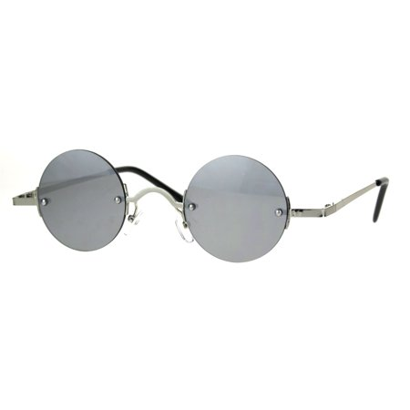Color Mirror Hippie Round Circle Lens Rimless Pimp Sunglasses Silver (Color Circle Lenses)