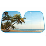 UV Palm Beach Vibes Foldable Accordion Durable Windshield Sun Shades  Universal Fit for Car Auto Sedan Truck SUV 58 x 27 inch