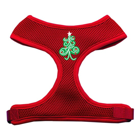 Swirly Christmas Tree Screen Print Soft Mesh Harness Red Large