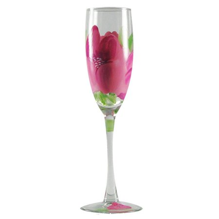 5.75 Ounce Glass - Set of 2 Pink Peony Floral Hand Painted Champagne Flute Glasses - 5.75 Ounces