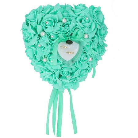 Wedding Heart Design Decor Rose Flower Bridal Bridegroom Ring Pillow Box Green