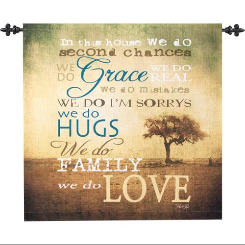 """Inspirational """"In This House"""" Family Wall Hanging Tapestry 26"""" x 26"""" by Manual Weavers"""