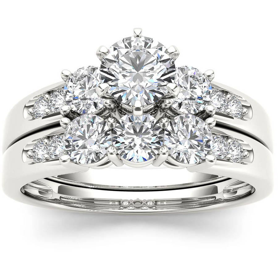 Imperial 1-3 8 Carat T.W. Diamond Three-Stone 14kt White Gold Engagement Ring Set by Imperial Jewels