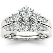 1-3/8 Carat T.W. Diamond Three-Stone 14kt White Gold Engagement Ring Set