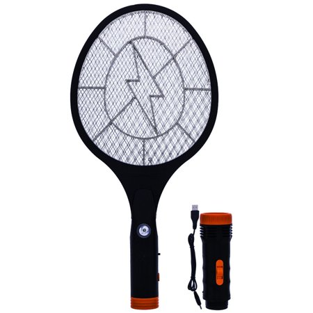 Insect Swatter (Koramzi Electric Mosquito Swatter / Bug Zapper With Rechargable Battery, Handle light, and Removable Flashlight Insect Control- F-10(Newest model) (Black))