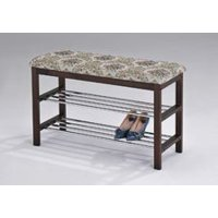 Legacy Decor Walnut Wood Shoe Bench with Two Metal Racks and Fabric Floral Design Seat Cushion