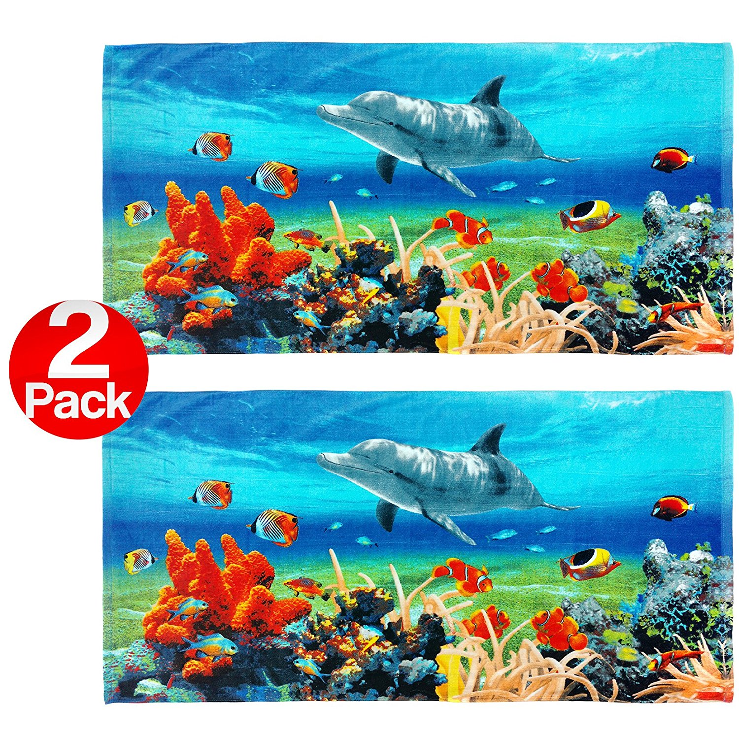 Coral Reef Dolphin 30in x 60in Beach Towel - 2 Pack Set