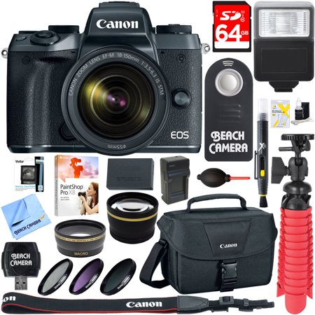 Canon EOS M5 Mirrorless Digital Camera w/ EF-M 18-150mm IS STM Lens + 64GB Memory Card + Camera Bag + 0.43x Wide Angle + 2.2x Telephoto Lens Converter + 55mm Filter Kit + Microfiber