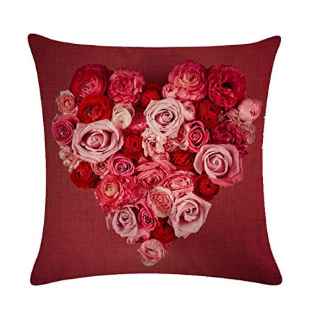 Sweetheart Roses Block - Tayyakoushi Rose Flower Pillow Cover 3D Decorative Rose Sweet Heart Valentine's Day Decorations Throw Pillow Home Decor Linen Pillowcase (Red 1)