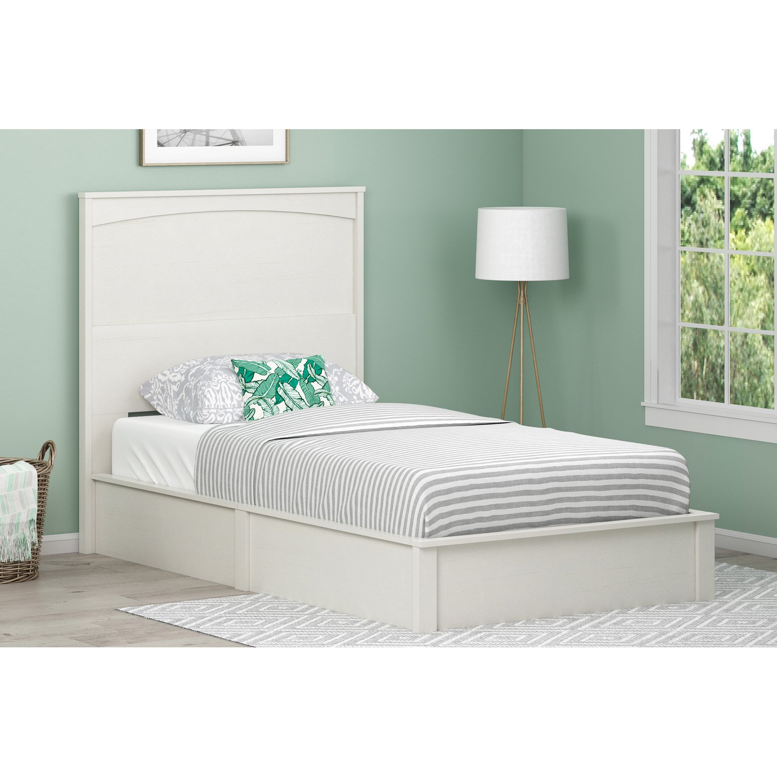 Ameriwood Home Crescent Point Bed and Headboard, Multiple Sizes and Colors