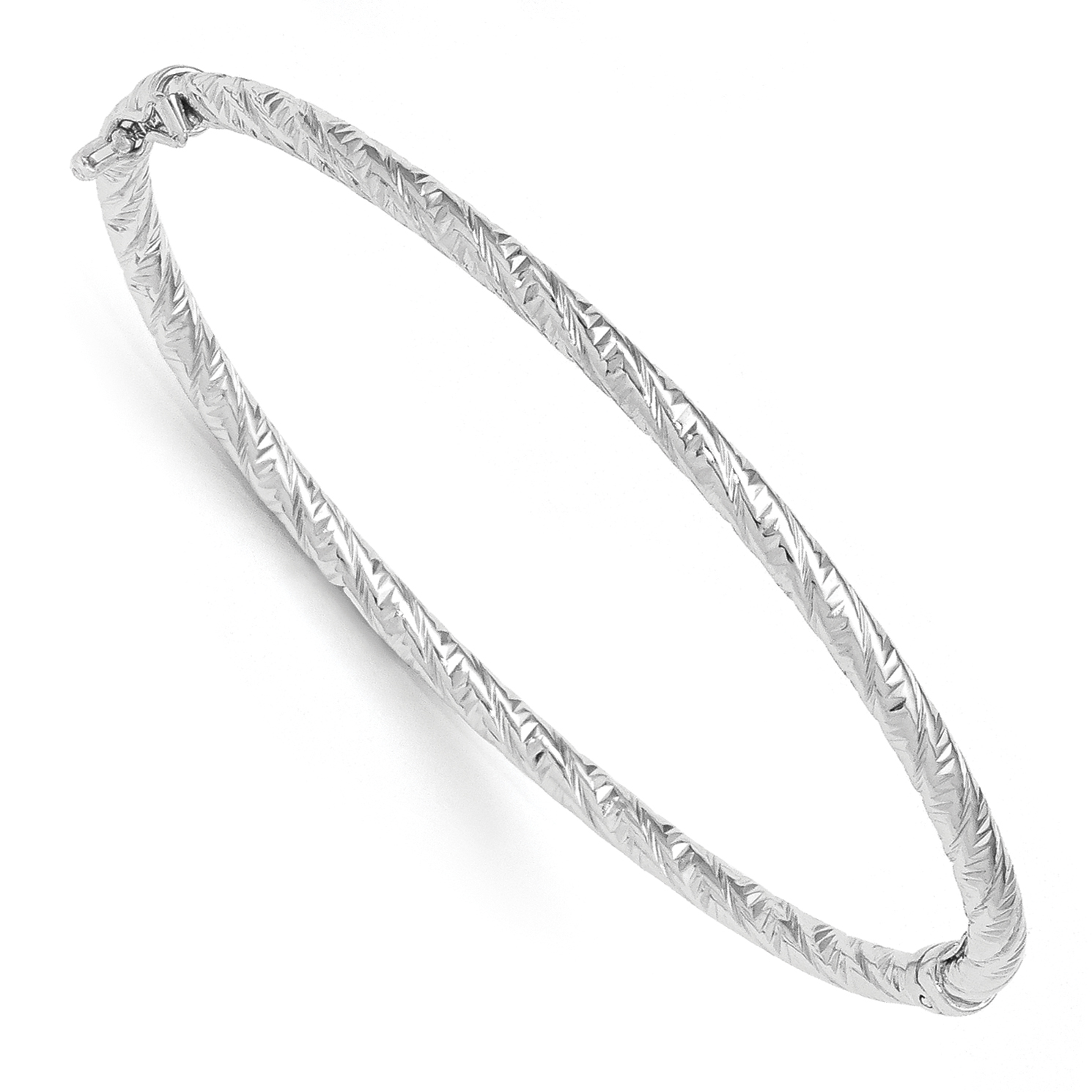 Leslie's 14k White Gold Polished and Textured Hinged Bangle Bracelet by