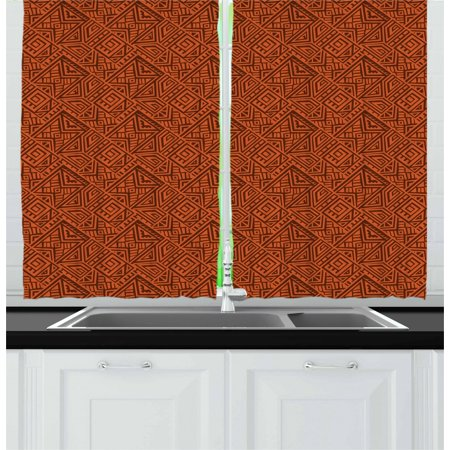 Aztec Curtains 2 Panels Set, Sacred Ethnic Exotic Tribal Culture Antique Old Fashioned Bohemian Design, Window Drapes for Living Room Bedroom, 55W X 39L Inches, Orange Dark Orange, by Ambesonne ()