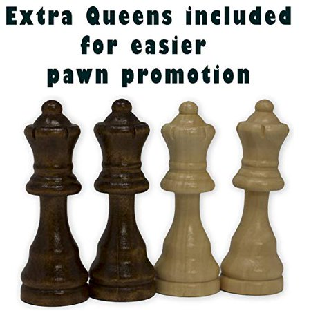 Staunton Chess Pieces by GrowUpSmart with Extra Queens | Size: Small - King Height: 2.5 inch | Wood - image 3 of 4