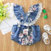EleaEleanor 3-18M Summer Newborn Baby Girl Short-sleeved Bodysuit Cotton Knitted Denim Lace Decoration Sweet Flying Sleeves Jumpsuit Clothes