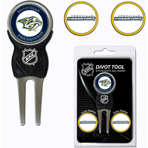Team Golf NHL Nashville Predators Divot Tool Pack With 3 Golf Ball Markers