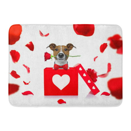 GODPOK Jack Russell Dog in Love for Happy Valentines Day with Rose Flower Mouth Isaolated on White Petals Flying Rug Doormat Bath Mat 23.6x15.7 (Titanic Love Scene Jack And Rose In Car)
