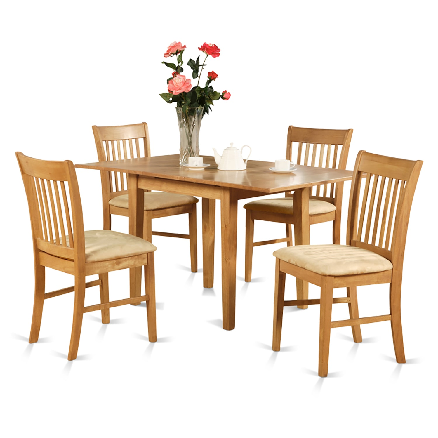 NOFK5-OAK-C 5 Piece dinette set for small spaces - table and 4 dining