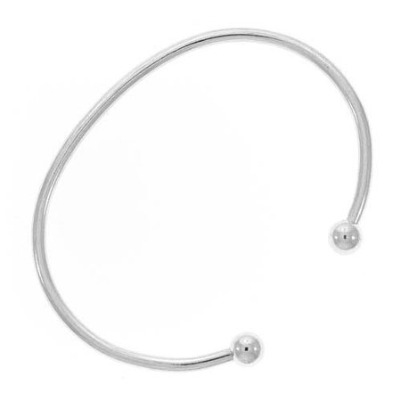 Silver Tone Bangle Cuff Bracelet For Pandora or Biagi Beads Screw End (Dress Silver Tone Bangle)