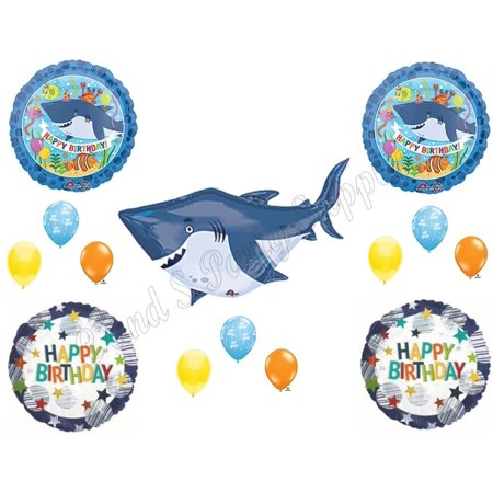 SHARK Birthday Boy Party Balloons Decoration Supplies Under Sea Ocean Beach - Shark Birthday Supplies