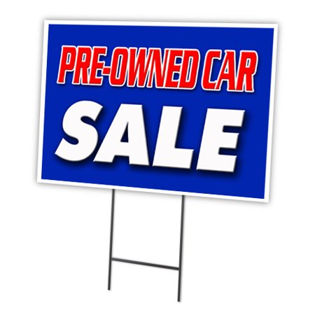 pre owned car sale 12 x16 yard sign stake outdoor plastic window. Black Bedroom Furniture Sets. Home Design Ideas