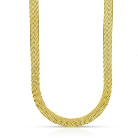 10K Yellow Gold 5mm Herringbone Chain Necklace 16