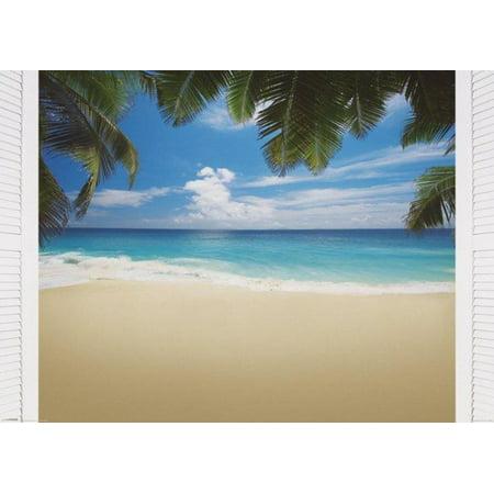 Maldives Bliss Tropical Island Ocean Beach Palm Trees Tranquil Poster   55X39