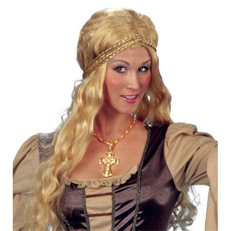 Funny Fashion Medieval Rennaisance Woman Halloween Wig, Blonde, One-Size (Funny Wig)