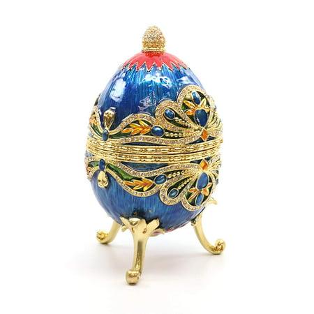 Faberge Style Large Eggs (Faberge Box Enameled Large Blue Egg, 24K Gold Figurines with Swarovski)