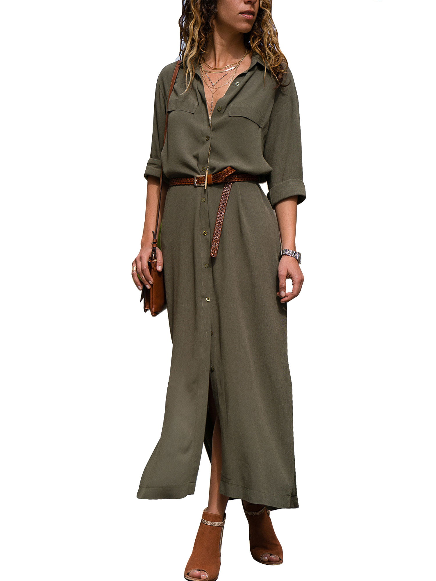 Usstore  Women Button Maxi Dress Fall Winter O-Neck Loose Casual Elegant Slim Pleated Full Sleeve Party Dress