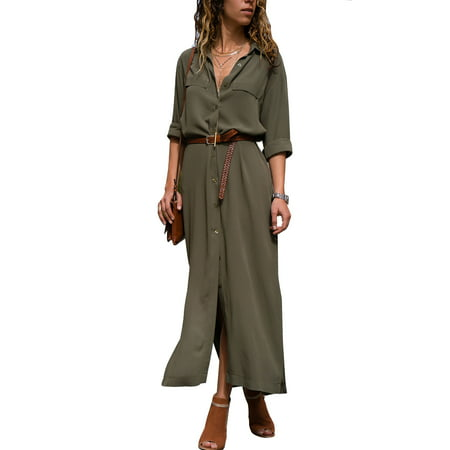 Women Long Sleeve Shirt Maxi Dress Ladies Casual Button Through Sun Dress V Neck Loose Side Split