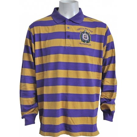 Buffalo Dallas Omega Psi Phi Rugby Style Striped Polo Mens Tee Long Sleeve Purple
